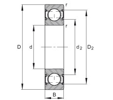 FAG الأخدود العميق الكرات - 6204-C-2HRS