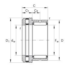 FAG إبرة بكرة / محوري أسطواني محامل - NKXR15-XL