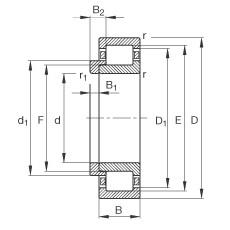 FAG محامل أسطوانية - NJ412-XL-M1 + HJ412