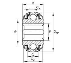 FAG Self-aligning deep groove ball bearings - GVKE16-205-KRR-B-2C-AS2/V-AH01