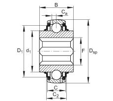 FAG Self-aligning deep groove ball bearings - GVKE16-205-KRR-B-AS2/V-AH01