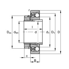 FAG الذاتي محاذاة الكرات - 2306-K-TVH-C3 + H2306