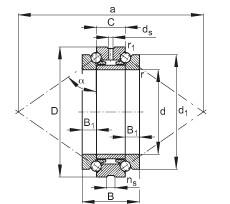 FAG محوري الزاوي الاتصال الكرات - 234414-M-SP