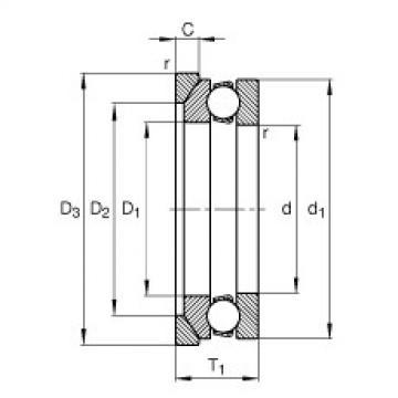 FAG محوري الأخدود العميق الكرات - 53214 + U214