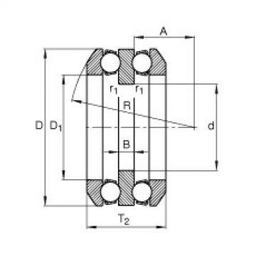 FAG محوري الأخدود العميق الكرات - 54216 + U216